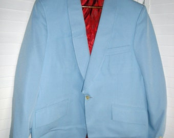 Vintage Tux Jacket Albert W Hibbert Custom Tailor International Tailoring Co Baby Blue Mens 1950s or  60s 44 in chest