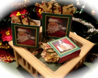 Dolls House Miniatures- 1/12th set of 3 christmas bags