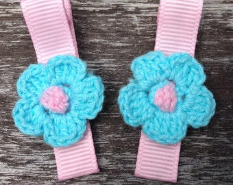Crochet Flowers Hair Clips Crochet Flowers Barrettes - No Slip Grips