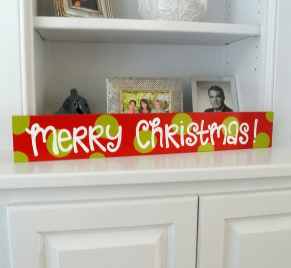 Merry Christmas red and green polka dot sign for your mantel - cute christmas decorations - cute polka dot signs