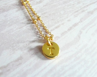 Tiny Gold Initial Necklace- Letter T