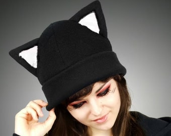 Black White Cap Kitty Fur Hat KItty Animal Ears Beanie earmuffs pompons