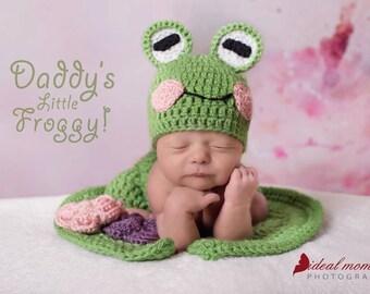 Newborn Frog Hat / Crochet Baby Frog Hat/ Frog Baby Prop/ Baby Girl Prop/ Baby Shower Gift/Newborn Photo Prop/ Frog and Lily Pad Set