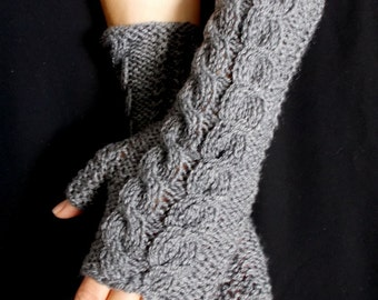 Fingerless Gloves Grey Wrist Warmers Cabled Handmade Warm Soft Acrylic