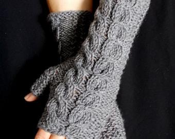 Fingerless Gloves Grey Wrist Warmers Cabled Handmade Warm Soft Acrylic