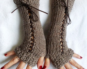 Gloves Fingerless Corset  Wrist Warmers in Light Brown  with Suede Ribbons Victorian Style