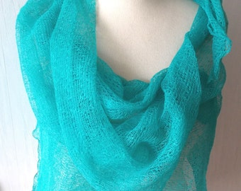 Linen Scarf Light Green Knitted Natural Summer Shawl  Wrap