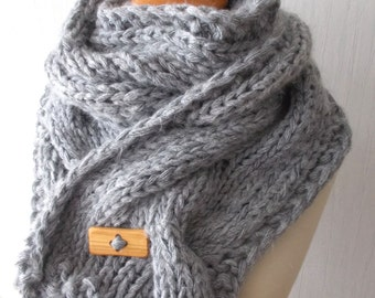 Grey Chunky Scarf Thick Cabled Handknit Cowl Winter Accessory