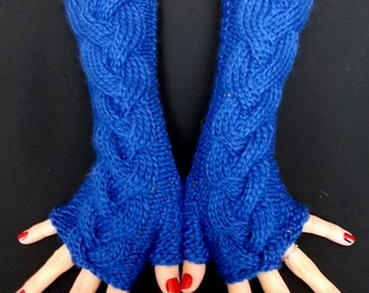 Fingerless Gloves Knit Wrist Warmers Cobalt Blue Soft Cabled