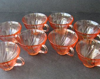 Pink Swirl Cups Made In France By Vereco