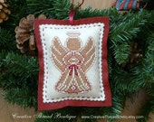 Felt Ornament - Gingerbread Angel - Christmas Ornament - Holiday Ornament - Holiday Pincushion - Handmade - Embroidered Ornament