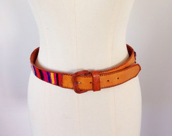 Vintage 90s Colorful Woven Fabric And Leather Belt Size 30