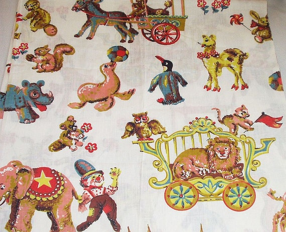 Vintage cotton fabric circus novelty children print sewing for Kids novelty fabric
