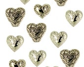 Jesse James Buttons Assorted Gold Hearts Fancy Button Embellishments