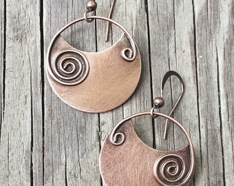 Copper earrings, copper jewelry, spiral earrings, geometric earrings, dangle earrings, gift for her