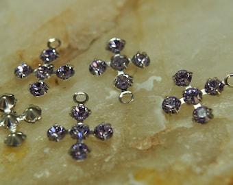 Swarovski Violet Purple Cross Silver Plated Pendants 10mm (8)