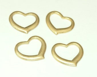 Vintage Open Raw Brass 16mm Heart Stampings (12)