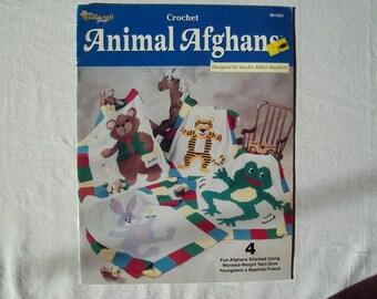 4 Blanket crochet Paterns, Animal Afghans Booklet Throw Pattern, Children's Blanket Needlecraft shop 991055, leaflet tiger bear bunny frog