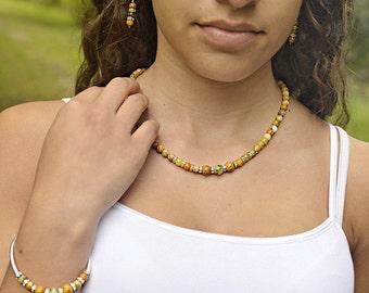 Yellow Moss Agate Sterling Silver Earrings