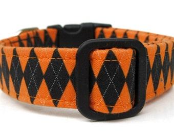 Halloween Argyle Dog Collar in Orange and Black