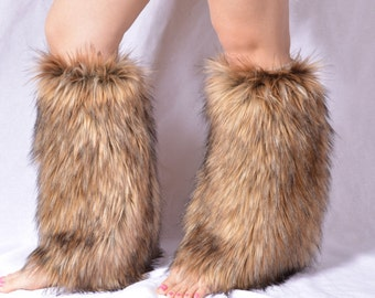 Coyote Faux Fur leg Warmers