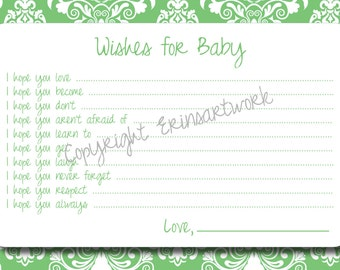 PRINTABLE Wishes for Baby Cards - Unique Baby Shower Activity Game or Memory Book Idea - Green