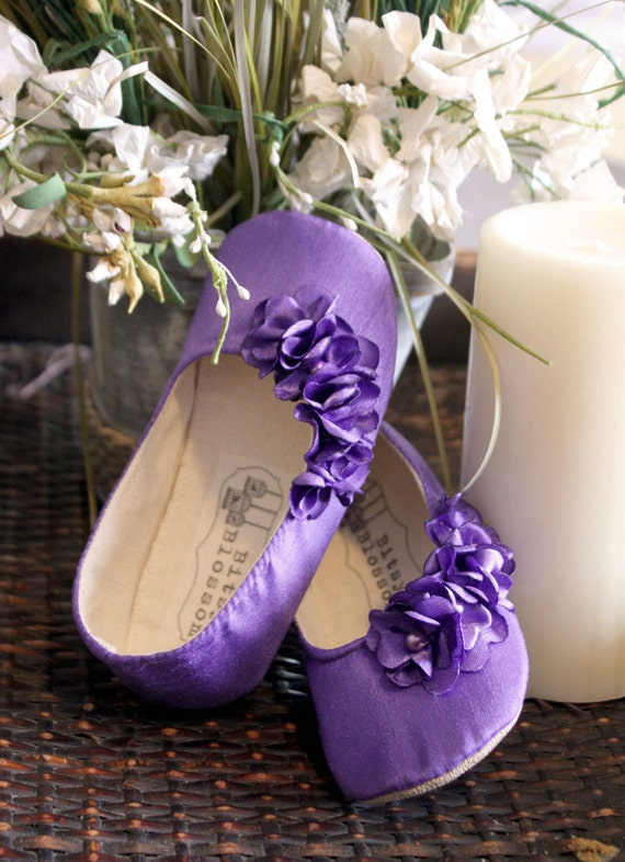 Infant Girl Shoes Baby Shoes Toddler Girl Shoes Soft Sole Shoes Wedding Shoes Flower Girl Shoes Purple Shoes Floral Shoes-Violet