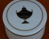 Richard Ginori Trinket Box with Grecian Urn Italy Vintage Estate Italian Porcelain