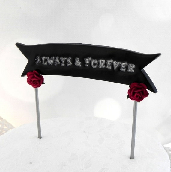 Wedding Cake Topper Banner - ALWAYS AND FOREVER - Custom Phrase and Colors