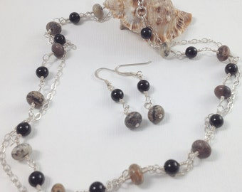 Black Onyx & Jasper Sterling Silver Chain Necklace and Matching Earrings