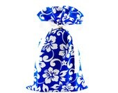 ON SALE -- Reusable Fabric Gift Bag in Royal Blue with White Tropical Flowers (Standard Size)
