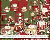 50% Sale Christmas Digital Paper Digital Scrapbook Kit Christmas Clipart Clip Art Silly Santa Christmas Cards Gift Tags Wrap Craft Supplies