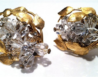 MASSIVE Crystal Clear Faceted Sparkle Diamond Rhinestones Haskell like High Quality CLUSTER Gold Clip on Earrings Authentic Vintage Jewelry