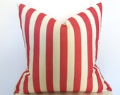 Stripe Decorative Pillow Cover - Coral Salmon Pink and Ivory - 18 inch - BOTH SIDES - Designer Pillow - Striped Pillow - Throw Pillow Cover