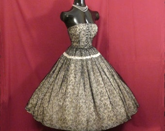Vintage 1950's 50s STRAPLESS Ben Reig Black Lace White Silk Chiffon Organza Circle Skirt Party Prom Wedding DRESS Gown