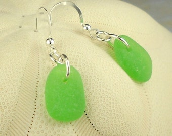 GENUINE Kelly Green Sea Glass Earrings Sterling Silver