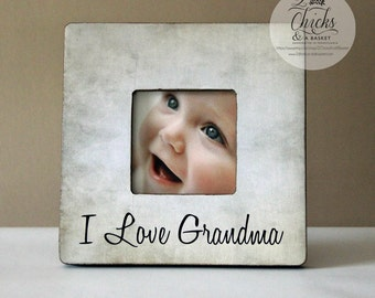 I Love Grandma Personalized Picture Frame, Grandma Gift, New Grandparent Picture Frame