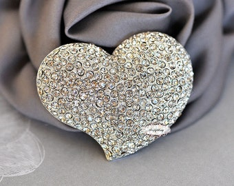 Heart Rhinestone Brooch Pin -  Flatback Rhinestone Brooch - DIY - Wedding - Wedding Jewelry -  Supply - Brooch Bouquet Supply RD294