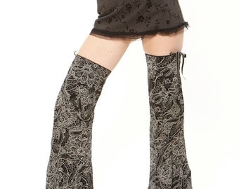 Festival Gypsy Dancer Thigh High, Leg Warmers, Leggings , Black ,Beige, and Grey Batik Design