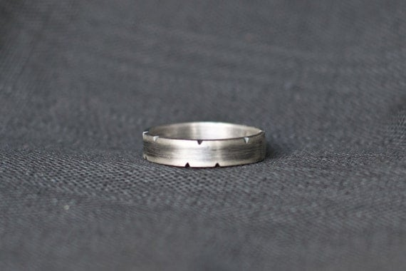 Wide Band Ring - Rustic Sterling Silver - Men's Wedding Ring oxidized wedding band heavy silver ring  Personalized mens Ring  boyfriend gift