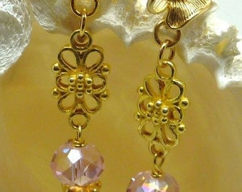 SALE!!   Crystal and 24K gold vermeil Earrings PASTEL CLOUDS