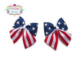 Stars & Stripes Hair Bows, July 4th Hair Accessories, Baby Bows, Little Girls Hair Barrettes, Girls Hair Bows, Pigtail Hair Bows, Girls Bows