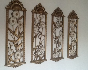 Vintage Wall Art / Syroco Wall Art / Set of Four Syroco / Floral Wall Art / Gold and Cream