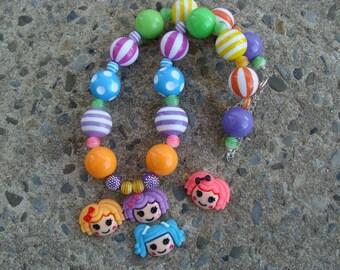 Lalaloopsy Necklace Kids chunky necklace Children's Necklace, Rainbow Necklace, Kids Necklace, Beaded Necklace, Child Girls Necklace