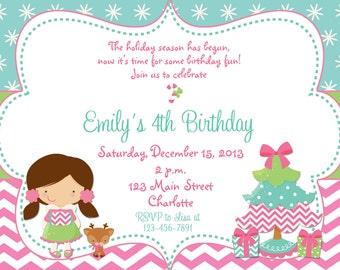 Christmas birthday party invitation  - Christmas birthday invitation -- Pink Chevron Girls Birthday