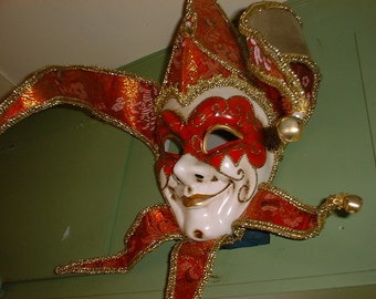 Fantastic JESTER MASK Mardi Gras Carnival to Wear or Wall Decor