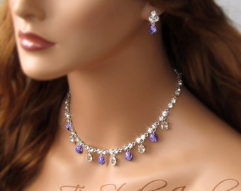 Tanzanite Purple Violet Crystal Necklace and Earring Set - NILA