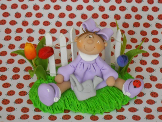Polymer Clay Spring Girl with Tulips - Fence Scene