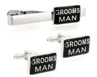 Grooms Man Wedding Cufflinks And Tie Clip Set 4100031