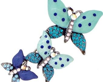 Multi Green Three Butterflies Crystal Pin Brooch 1010072